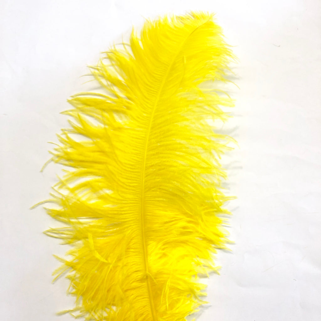 "Ostrich Wing Feather Plumes 50-55cm (20-22"") - Yellow ((SECONDS))"