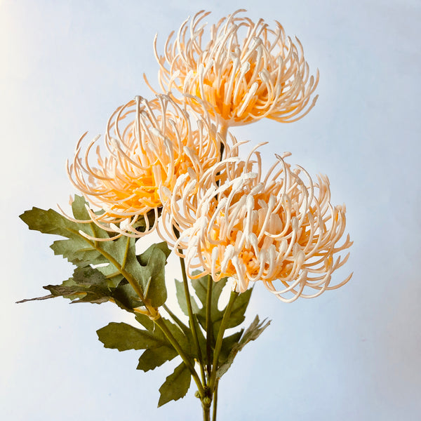 Artificial Australian Native Silk Protea Leucospermum Flower Spray - Apricot (Style 6)