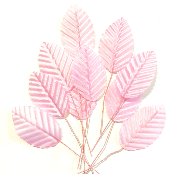 Artificial Satin Wired Leaves - Pink