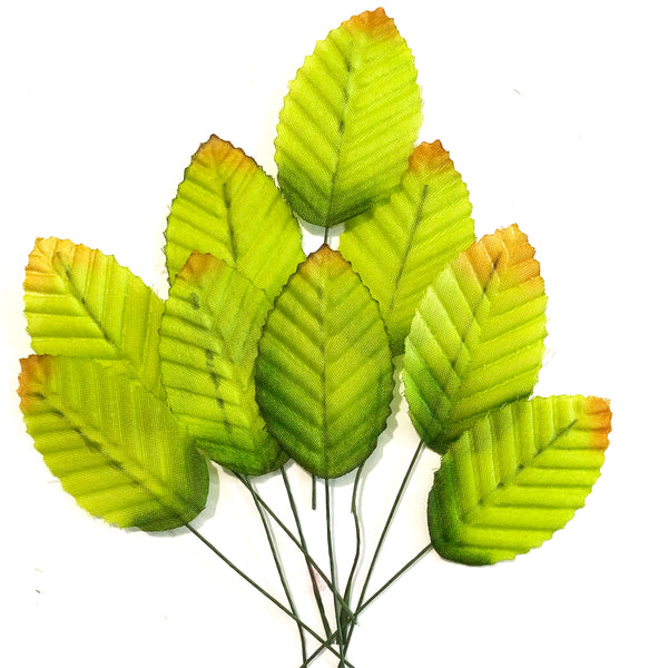 Artificial Satin Wired Leaves - Autumn Green