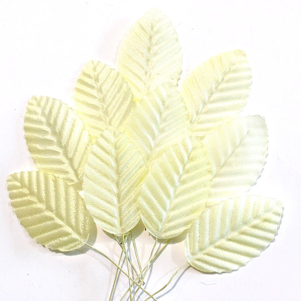 Artificial Satin Wired Leaves - Lemon