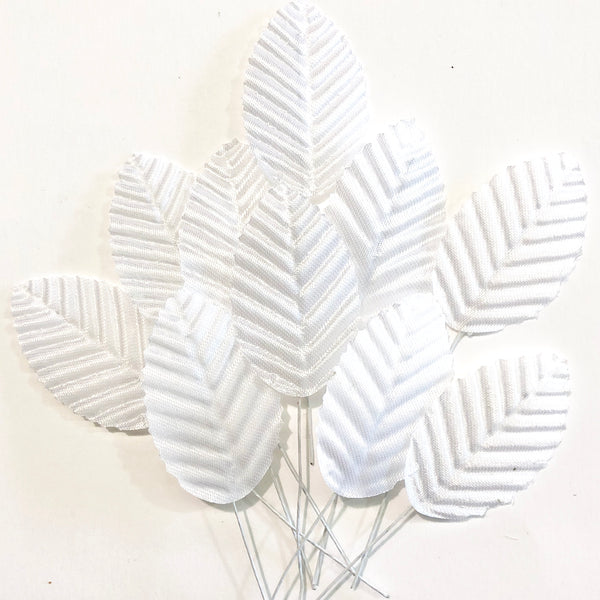 Artificial Satin Wired Leaves - White