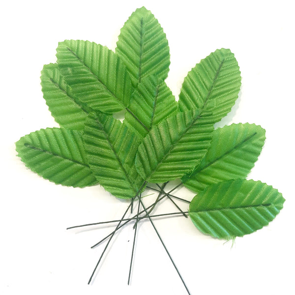 Artificial Satin Wired Leaves - Green