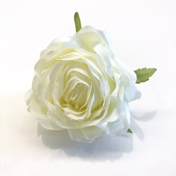 Artificial Silk Flower Head - Ivory Rose Style 92 - 1pc
