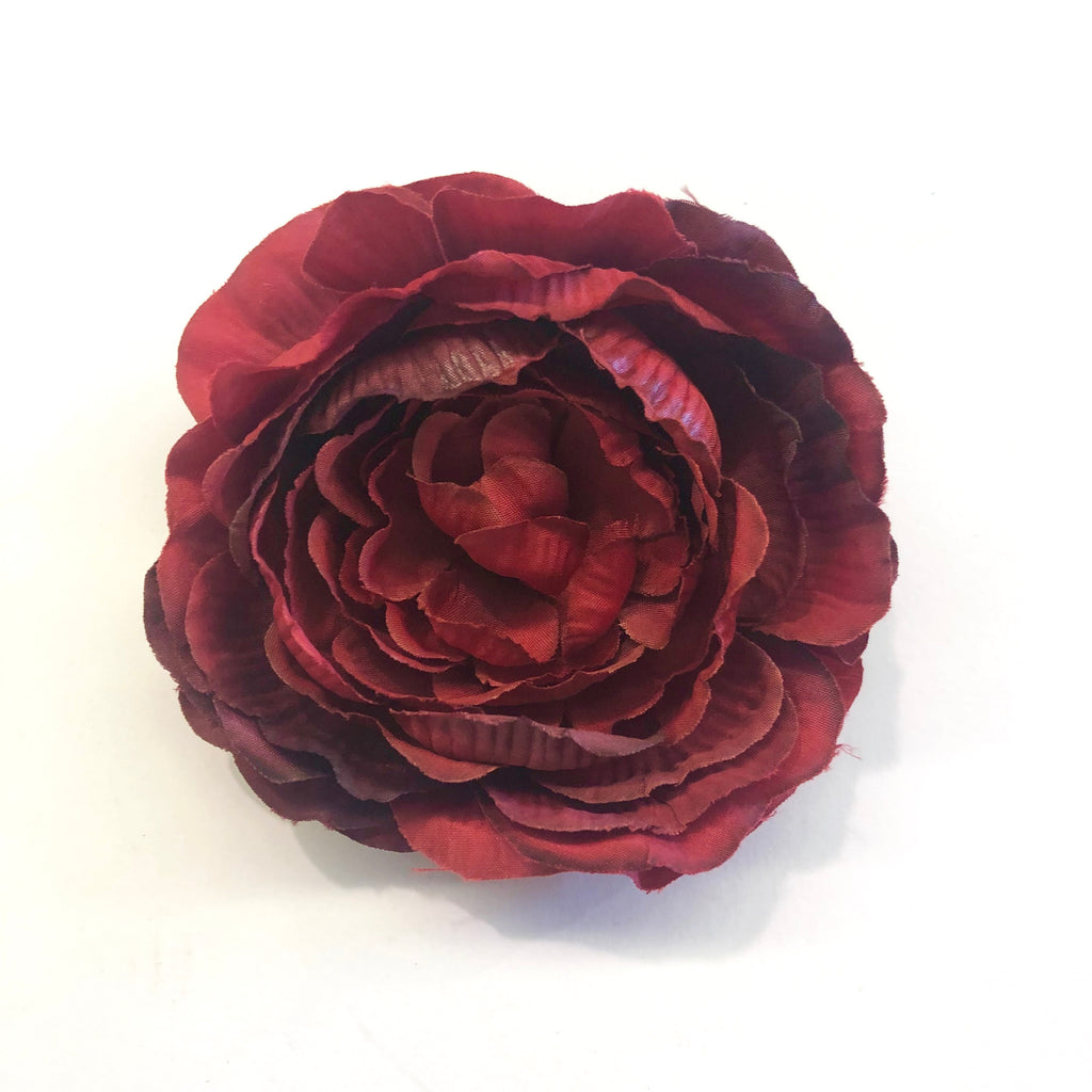 Artificial Silk Flower Head - Blood Red Rose Style 10 - 1pc