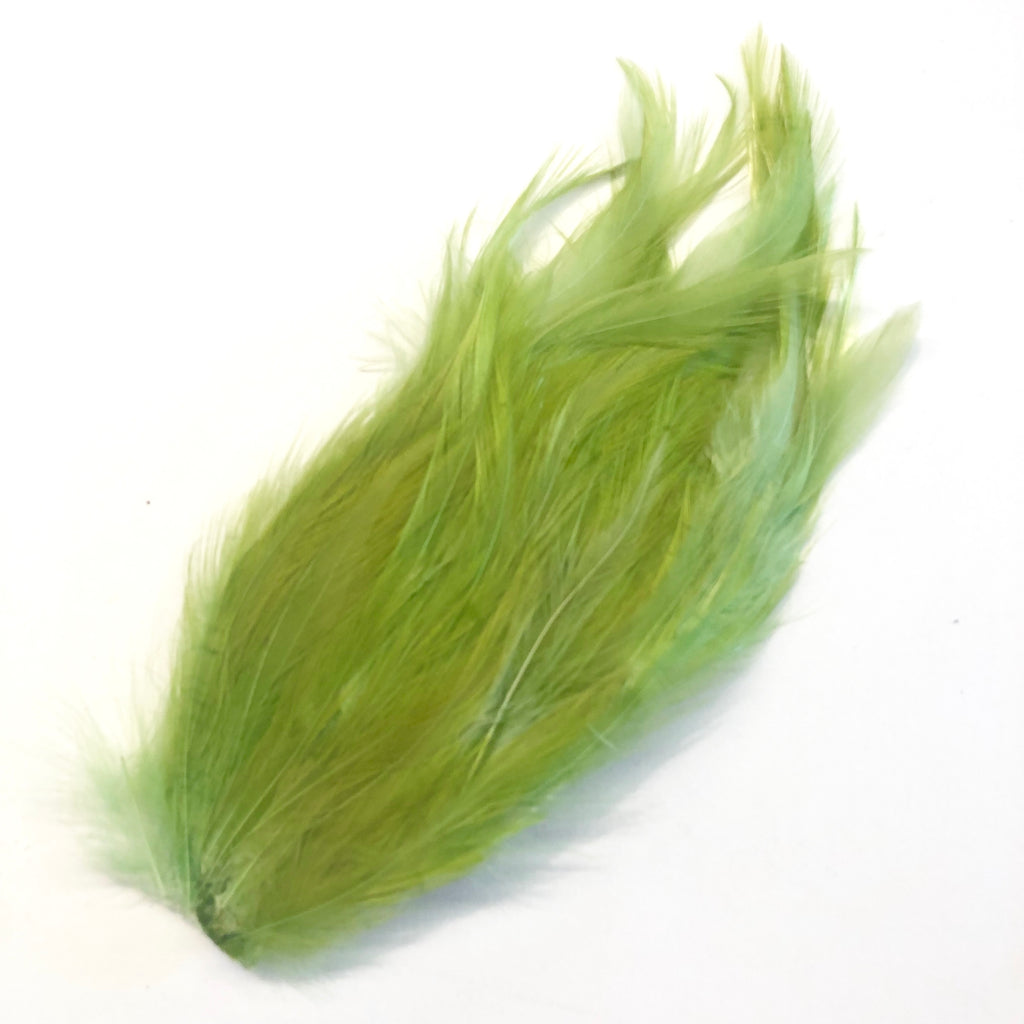 Coque Hackle Feather Pad - Olive Green