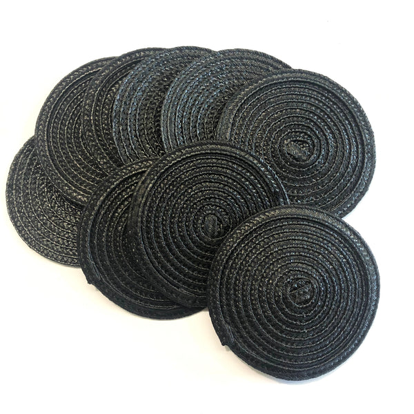Polybraid 100mm Round Disc Millinery Fascinator Base x 10 pcs - Black