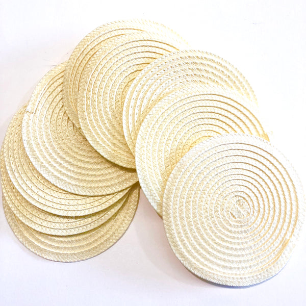 Polybraid 100mm Round Disc Millinery Fascinator Base x 10 pcs - Ivory