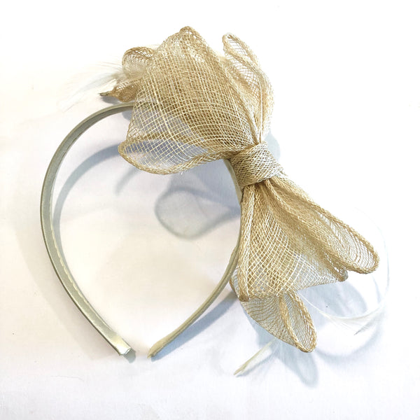 Sinamay Bow & Feather Racing Headband Millinery Fascinator - Ivory