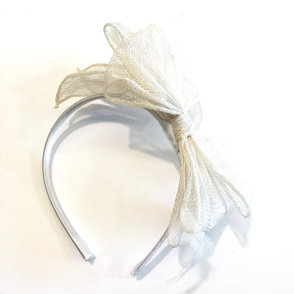 Sinamay Bow & Feather Racing Headband Millinery Fascinator - White