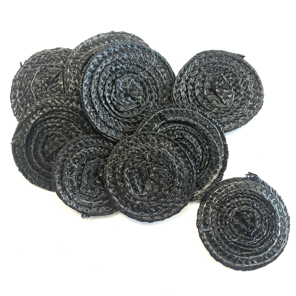 Polybraid 50mm Round Disc Millinery Fascinator Base x 10 pcs - Black