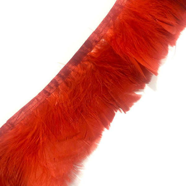 Turkey Plumage Feather Ribbon Strung per metre - Red