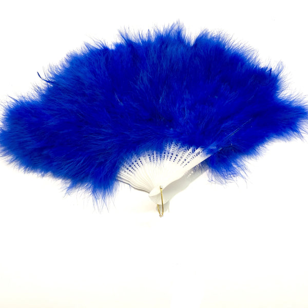 Marabou Large Deluxe Dainty Feather Fan - Royal Blue (Style 1)