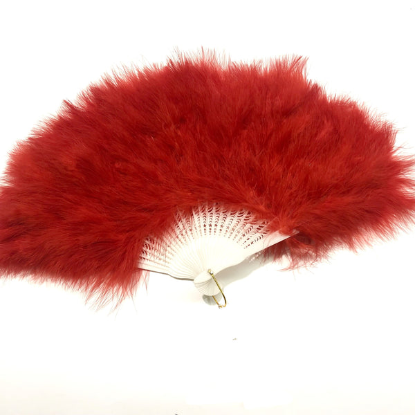 Marabou Large Deluxe Dainty Feather Fan - Red