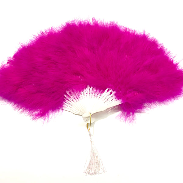 Marabou Large Deluxe Dainty Feather Fan - Cerise