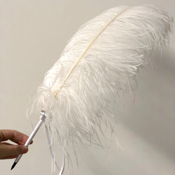 Ostrich Wing Feather Wedding Ceremony Signing Pen & Crystal Stand - White