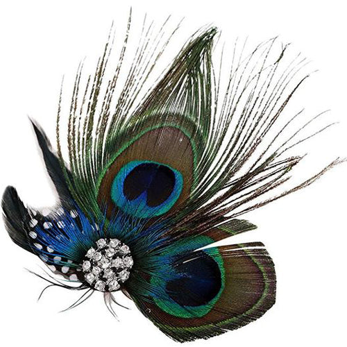 Great Gatsby 1920's Flapper Feather Headdress Fancy Dress - Natural Peacock (Style 8)