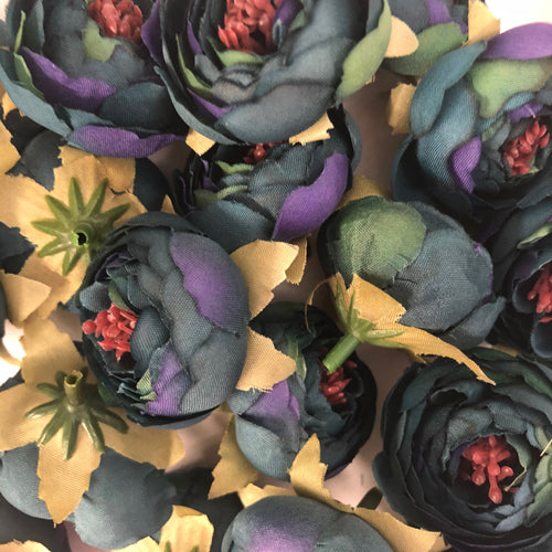 Artificial Silk Flower Heads - Ombre Teal/Purple Peony 87- 5 Pack