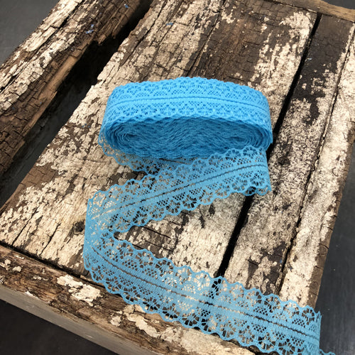 Lace Ribbon Sewing Craft Roll 10 yards (9mtrs) 28mm Wide - Aqua