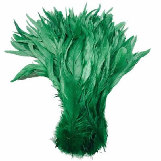 "10/12"" - 280mm Apple Green Coque Tail Feathers - 10 grams"