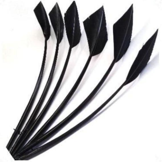 Turkey Wing Arrowhead Feather - Black