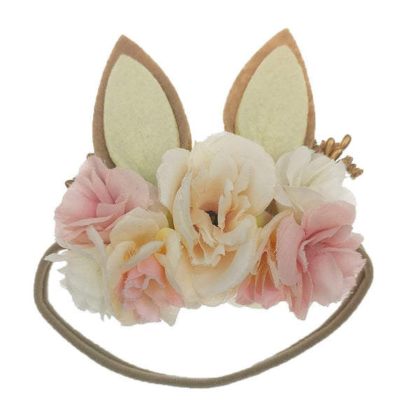 Easter Holiday Bunny Rabbit Floral Baby Girls Headband - Ivory & Pink (Style1)