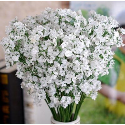 Artificial Fabric Baby's Breath Flower Stem - White