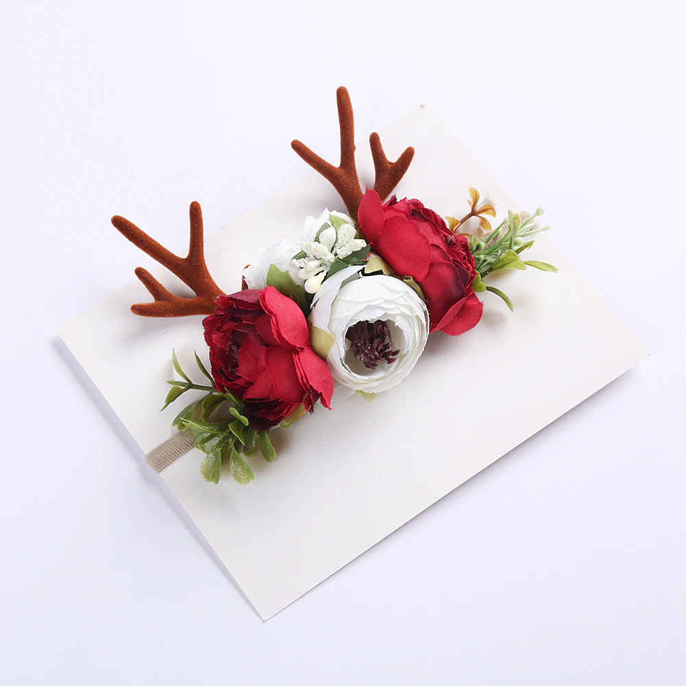 Christmas Holiday Antler Reindeer Floral Baby Girls Headband - Red (Style 8)