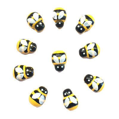 Wooden Mini Yellow Bee's x 10