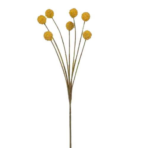 Artificial Australian Native Craspedia Billy Button Flower Spray - Yellow
