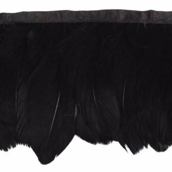 Goose Nagoire Feather Ribbon Strung per 10cm - Black