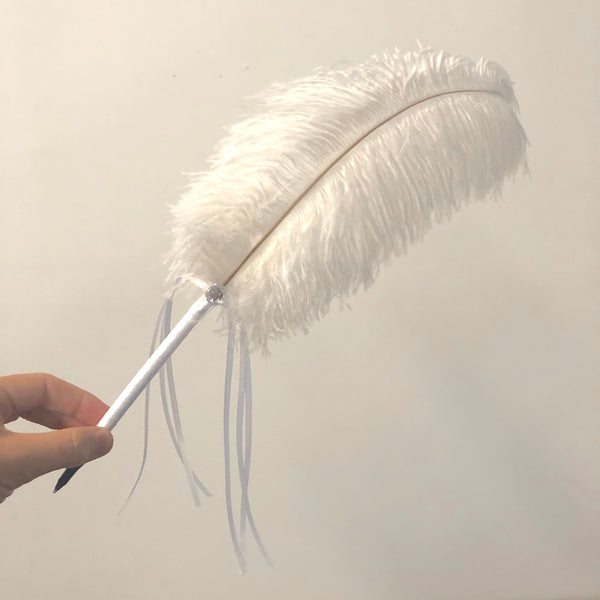 Ostrich Blondine Feather Wedding Ceremony Signing Ballpoint Pen & Crystal Stand - White