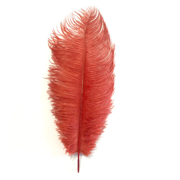 Ostrich Drab Feather 27-32cm - Blood Red *Seconds* Pack of 5