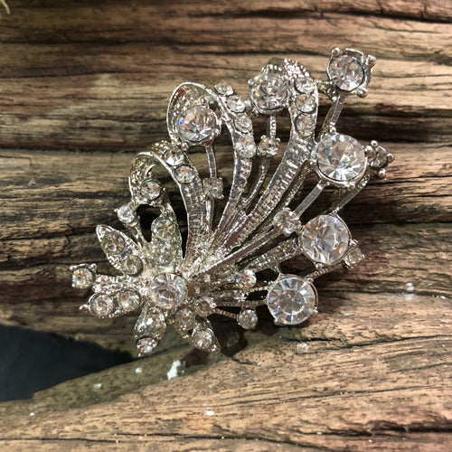 Silver Rhinestone Brooch Without Pin - Style 3