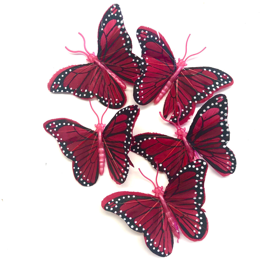 Feather Butterflies Style 4 MINI 5 Pack - Blood Red