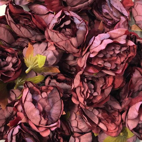 Artificial Silk Flower Heads - Burgundy Peony Style 42 - 5 Pack