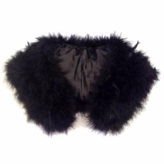 Great Gatsby 1920's Bridal Flapper Feather Shawl - Black
