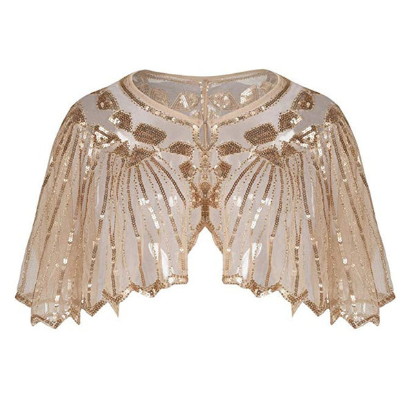 Great Gatsby 1920's Bridal Flapper Sequin Cape - Beige