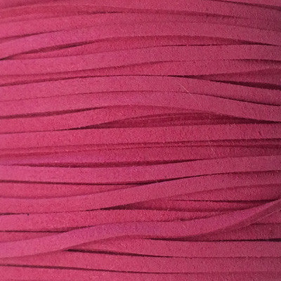Cerise Faux Suede Leather Cord per metre