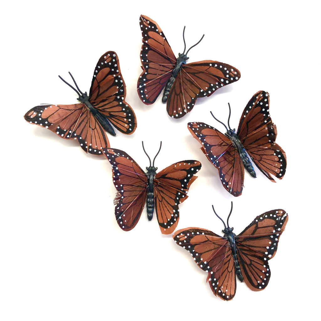Feather Butterflies Style 4 MINI 5 Pack - Brown
