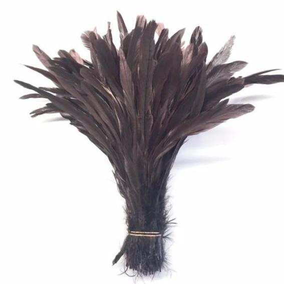 "10/12"" - 280mm Chocolate Brown Coque Tail Feathers - 10 grams"