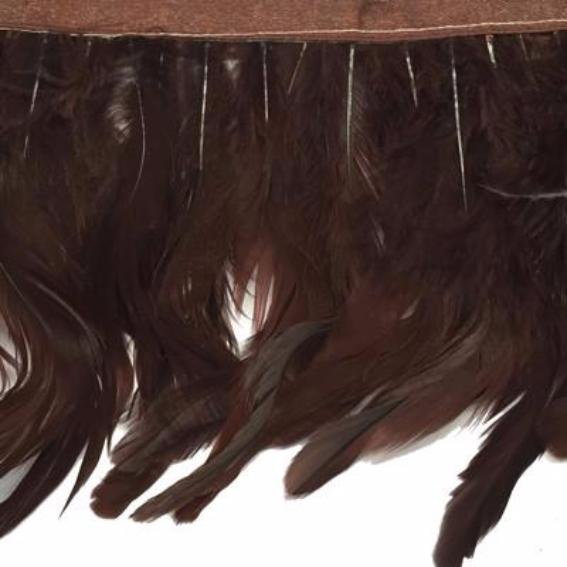 Coque Tail Feathers Strung 100-150mm on Ribbon per 10cm - Chocolate Brown