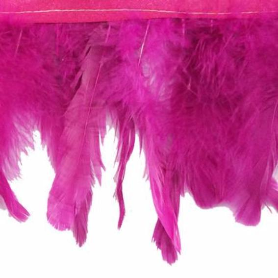 Coque Tail Feathers Strung 100-150mm on Ribbon per 10cm - Magenta