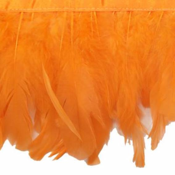 Coque Tail Feathers Strung 100-150mm on Ribbon per 10cm - Orange