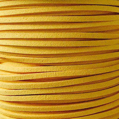 Golden Yellow Faux Suede Leather Cord per metre