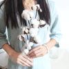 Artificial Natural Dried Cotton Flower SPRAY - White