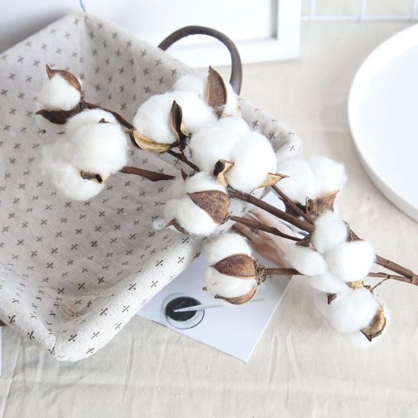 Artificial Natural Dried Cotton Flower Spray - White Style 2
