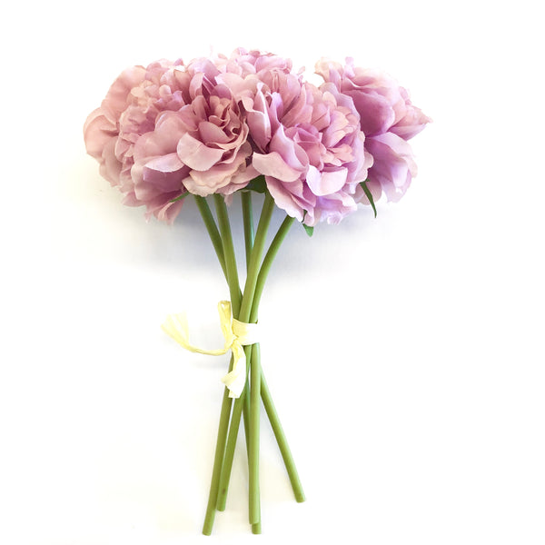Artificial Silk Carnation Flower Bouquet Bunch Vintage Mauve