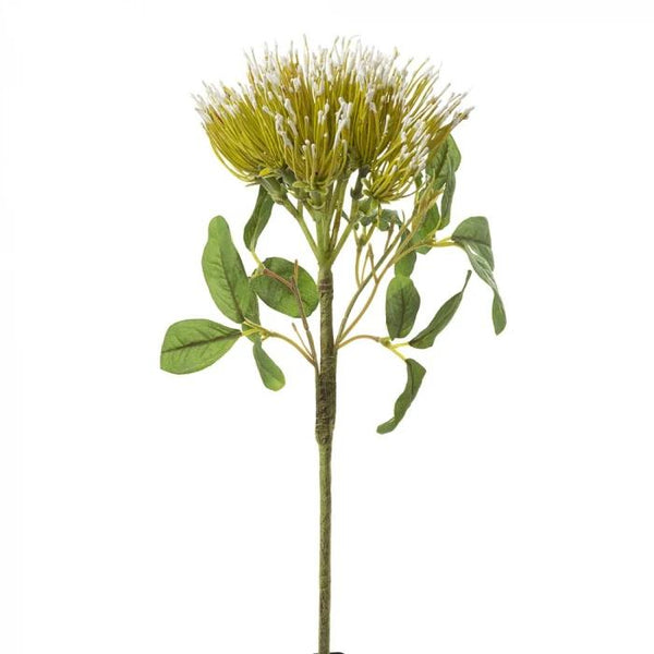 Artificial Australian Native Silk Wild Protea Leucospermum Flower Stem - Green (Style 1)