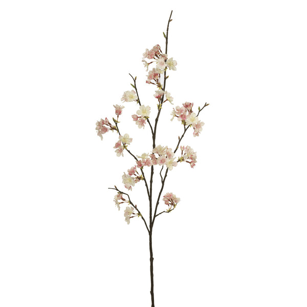 Artificial Silk Blossom Cherry Branch Spray - Cream / Pink